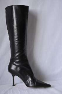 JIMMY CHOO Black Point Toe Tall Leather Knee High Boots Booties Back