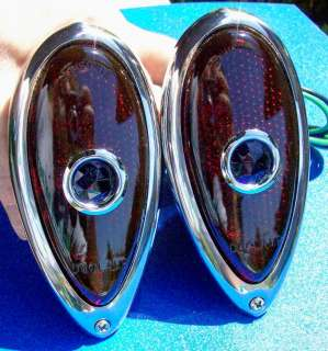 1938 39 Teardrop FORD TAIL LIGHTS with GLASS Blue Dots