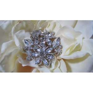 NEW Large Bridal Rhinestone Crystal Hair Flower Clip with