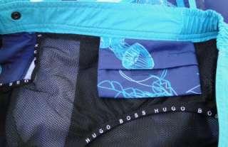NEW $69 Mens HUGO BOSS Blue Jellyfish MEDUSA SWIM SUIT Trunks w/2 side