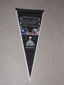 Superbowl 46 New England Patriots New York Giants Duel Logo Pennant