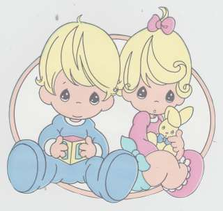 PRECIOUS MOMENTS BOY GIRL & BUNNY WALLPAPER BORDER CUT OUT