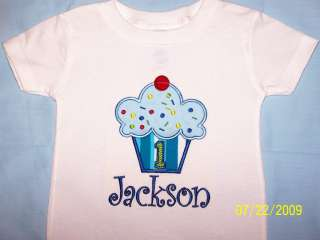 PERSONALIZED CUPCAKE SHIRT BOY BIRTHDAY APPLIQUE CUSTOM