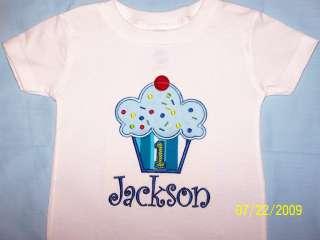 PERSONALIZED CUPCAKE SHIRT BOY BIRTHDAY APPLIQUE CUSTOM