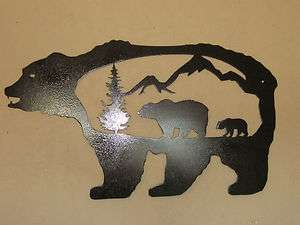 CUSTOM BEAR MOUNTAINS SCENE PLASMA METAL ART WALL HANGING