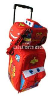 Disney Pixar cars Children red Trolley luggage suitcase lunch bag 2pcs