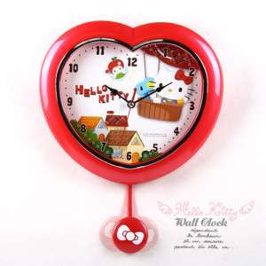 HELLO KITTY HEART SHAPE SWEEP WALL CLOCK WITH PENDULUM