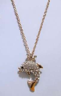 Gold Crown Dolphin Fish Clear Swarovski Crystal LONG Necklace