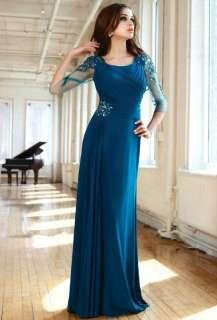 Custom Make Chiffon Beading Floor Length Mother Of The Bride Dress 3/4