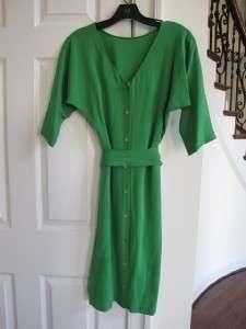 DIANE VON FURSTENBERG Maja Green Lawn Silk Belted Dress 6 8 Kate