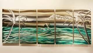 Tropical Metal Wall Art Decor Silver/Gold/GreenCastaway Summer