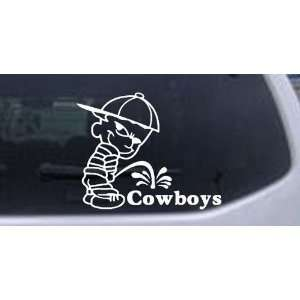 Pee On Cowboys Car Window Wall Laptop Decal Sticker    White 12in X 9
