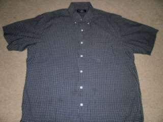 Brooks Brothers Black & White Plaid Short Sleeved Shirt Sz. L Large