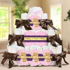 Baby Girl Teddy Bear   3 Tier Diaper Cake   Baby Shower Gift Baby