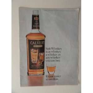 Calvert Extra Whiskey. 1964 full page print advertisement.(bottle with