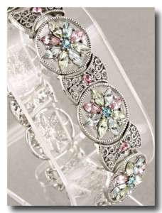 Antique Silver Multi Colored Crystals Stretch Bracelet