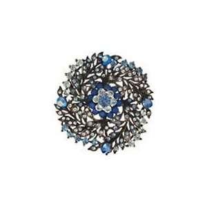 Vintage Style Blue Swarovski Crystal Swirled Vine Brooch