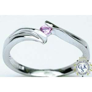 Gorgeous & Hot Pink Sapphire 14K White Gold Ring New