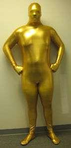 Adult Award Gold Man Full Body Spandex Zip Up Suit Bodysuit Zentai