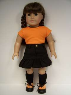 BLACK Skirt ORANGE Top Doll Clothes For AMERICAN GIRL♥