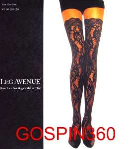 ROSE LACE Thigh High Stockings w/ LACE TOPS   BLACK O/S