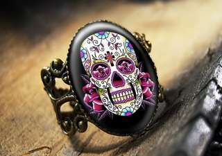 Dia De Los Muertos Pink Sugar Skull Bronze Ring 65 4 AR