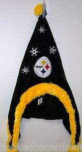 Pittsburgh Steelers NFL Dangle Hat Santa Style Hat Hood with Balls New