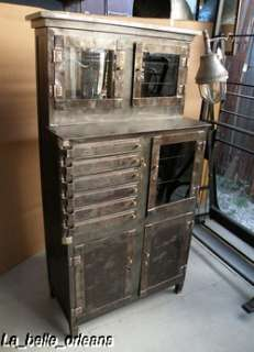 OUTSTANDING VINTAGE INDUSTRIAL MEDICAL DENTAL STEEL CABINET