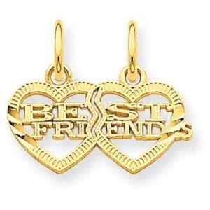 14k Double Heart Best Friends Break apart Charm Jewelry