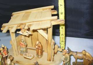 KUOLT HAND CARVED WOOD ITALIAN NATIVITY SET WITH CAMEL CRECHE