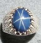 MENS 16X12MM LINDE BLUE STAR SAPPHIRE CREATED S/S RING