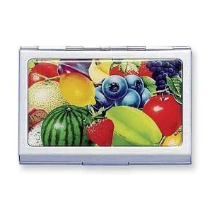 Stainless Steel w/Epoxy Fruit Design Card Case: Jewelry