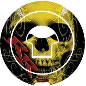 Rascal Grafik Gas Cap Protector   Yellow Skull RA36665