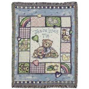 Jesus Loves Me Baby Teddy Bear Tapestry Throw Baby