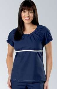 NWT PEACHES KATHERINE HEIGL SCRUB TOP 5451 aqua navy blue elastic neck
