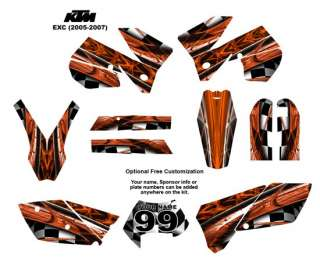 KTM EXC 2005  07 Bike Graphic Decal Sticker Kit 2001Orange