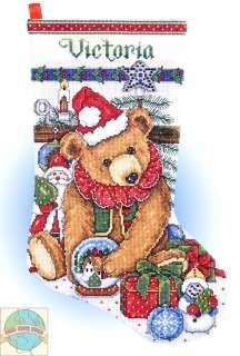 Cross Stitch Kit ~ Victorian Teddy Bear & Toys Stocking