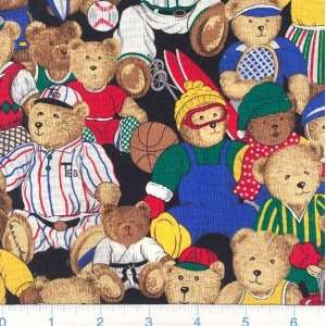 Wide Teddy Bear Sports Black Fabric By The Yard Arts, Crafts & Sewing