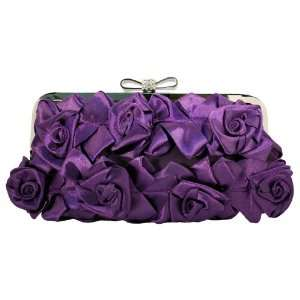 Sophisticated Plum Satin Roses Clutch Purse with