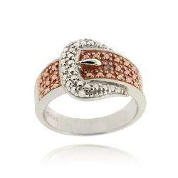 SS & ROSE GOLD CHAMPAGNE DIAMOND BUCKLE RING SZ 4,5,6,7,8,9,10,11,12