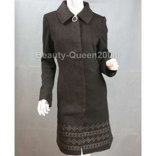 EMBROIDERED Soft Wool Cashmere Coat Long Jacket Brown S