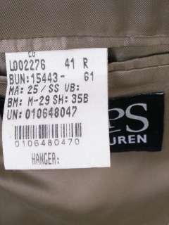 Ralph Lauren Chaps Tweed Blazer 41R Lambs Wool Beige Herringbone