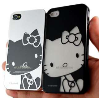 2x Hello Kitty Chrome plated Hard Case Black & Silver Pair for iPhone