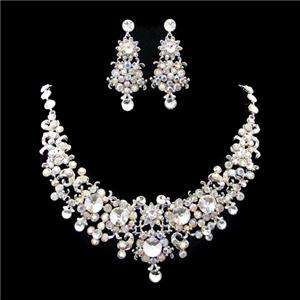 Bridal Flower Floral Necklace Earring Swarovski Crystal