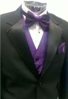 Mens Complete Tuxedo 44R 44 R Jacket Pants Purple Vest Shirt Bow tie 6