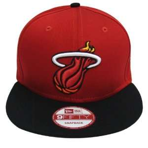 Miami Heat Retro New Era Logo Snapback Cap Hat Red Black