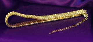 Bridal 3 Row Crystal Rhinestone Gold Plated Choker C003