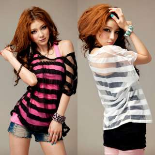 Women Sexy Casual shirt vest short sleeve striped two piece set T