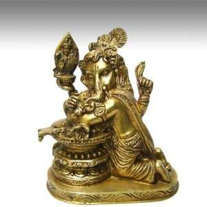 Ganesh w/ Shiva Lingam 7H Solid Brass: Everything Else