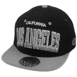 GORRA SNAPBACK LOS ANGELES CALIFORNIA FLAT BILL BLACK GRAY CITY HUNTER